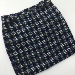 LOFT Tweed Pencil Blue Black Lined Skirt Size 4